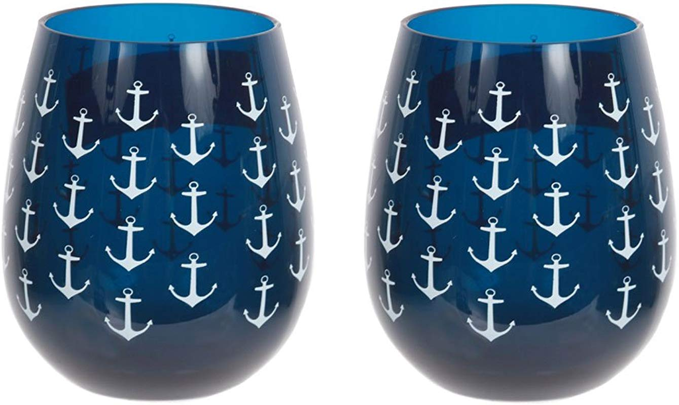 Set Of 2 Nautical Anchor Shatter Resistant Stemless Wine Glasses 18 Oz Navy
