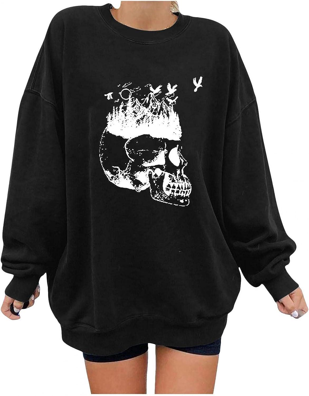 Aayomet Hoodies for Women Pullover Halloween Graphics Print Long Sleeve Funny Sweatshirts Casual Loose Sweaters Tops Shirts