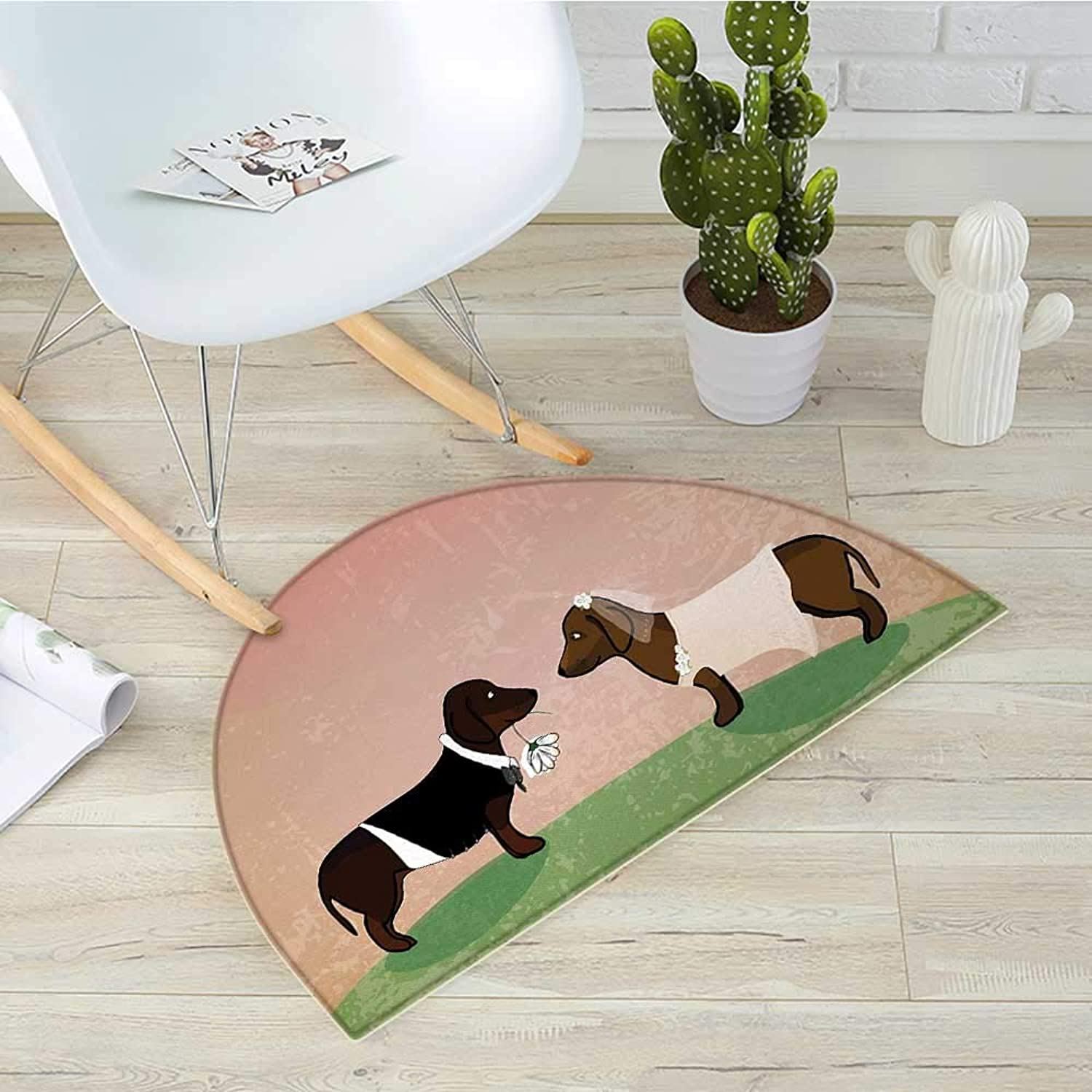 Dachshund Half Round Door mats Cute Groom and Bride Dogs Marriage Themed Ceremonial Illustration Cartoon Style Bathroom Mat H 39.3  xD 59  Multicolor