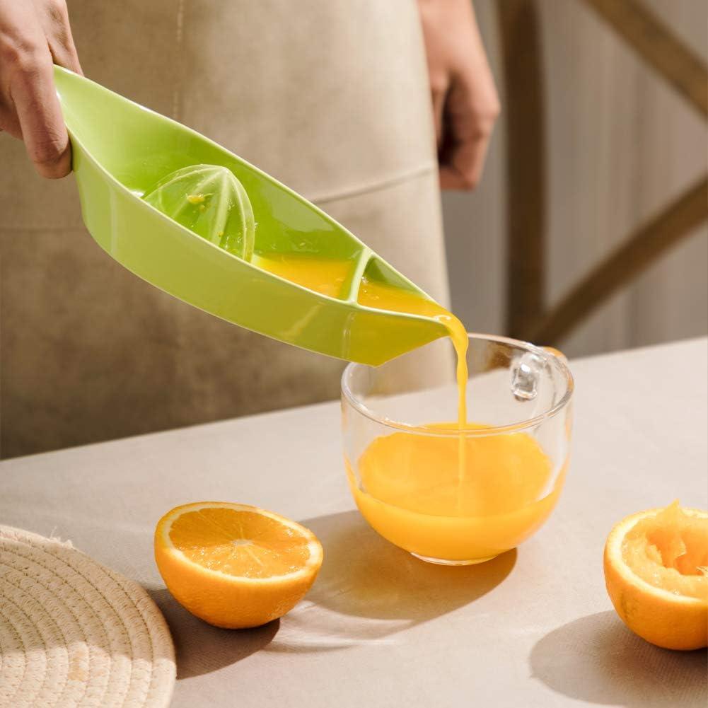 Green Manual Fruit Reamer, Stoneware Lemon Squeezer with Boat Shape SWEEJAR Ceramic Citrus Juicer