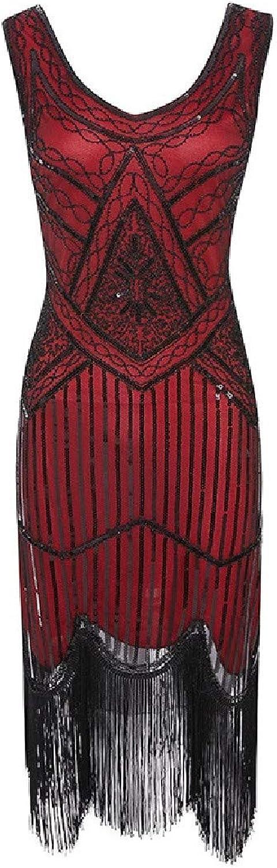 TaoNice Womens Fringed Vintage Scoop Neck Premium Sequin Swing Dress
