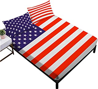 JARSON Classic American Flag Sheet Set Patriots Sheets Twin Size Deep Pocket Bedding,Flat Sheet + Fitted Sheet + Pillowcase