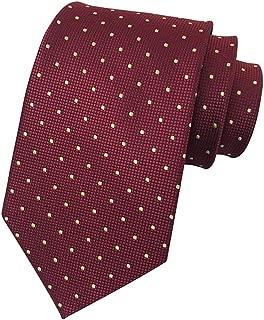 MENDENG Men's Polka Dot Plaid Silk Tie Wedding Necktie Elegant Suit Ties Formal