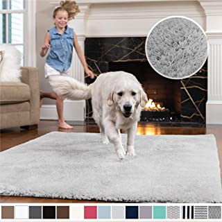 Gorilla Grip Original Faux-Chinchilla Area Rug, 3x5 Feet, Super Soft and Cozy High Pile Washable Carpet, Modern Rugs for Floor, Luxury Shag Carpets for Home, Nursery, Bed and Living Room, Light Gray