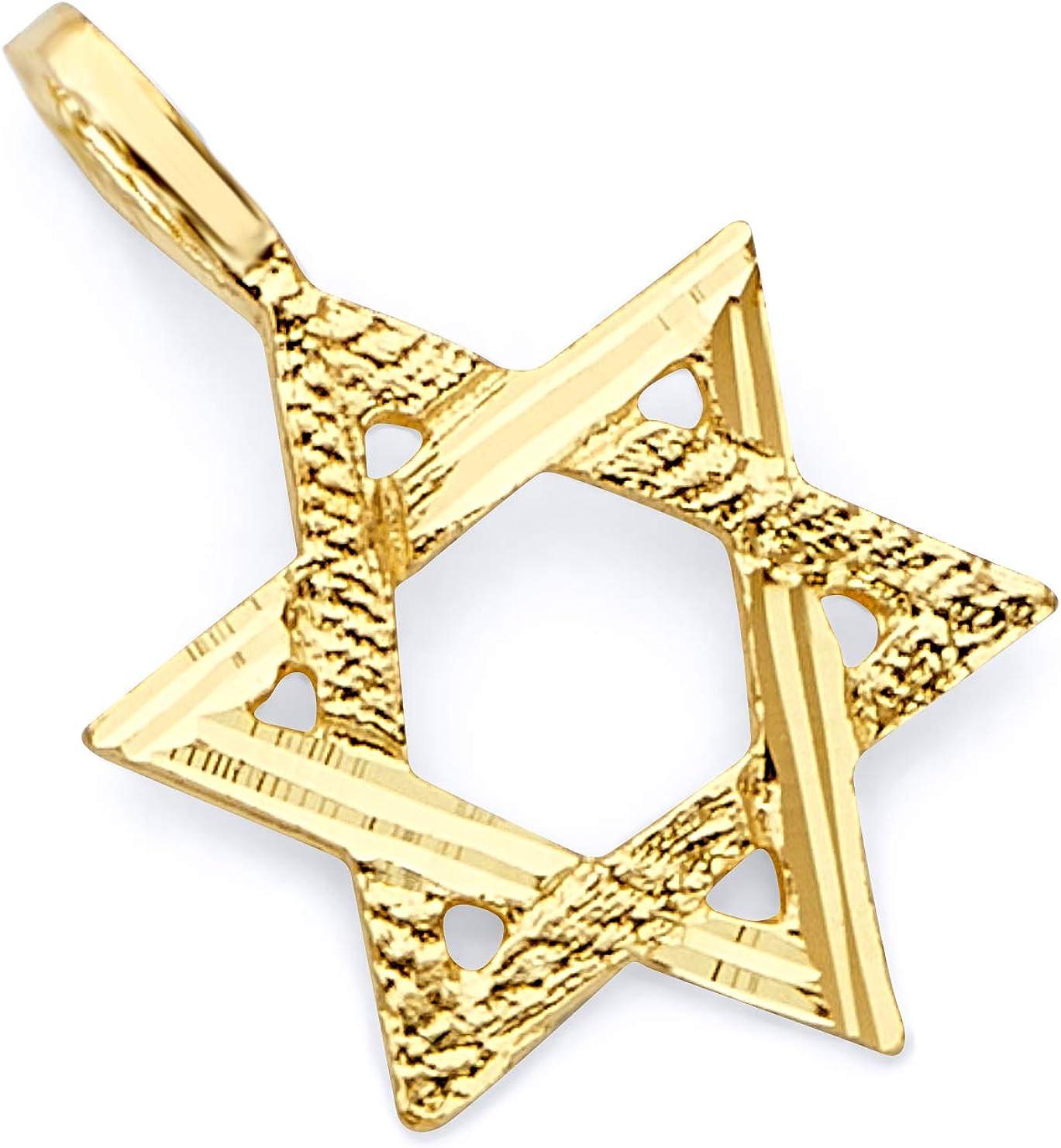 14k REAL Yellow Gold Star of Max 79% OFF Pendant David Regular discount Charm