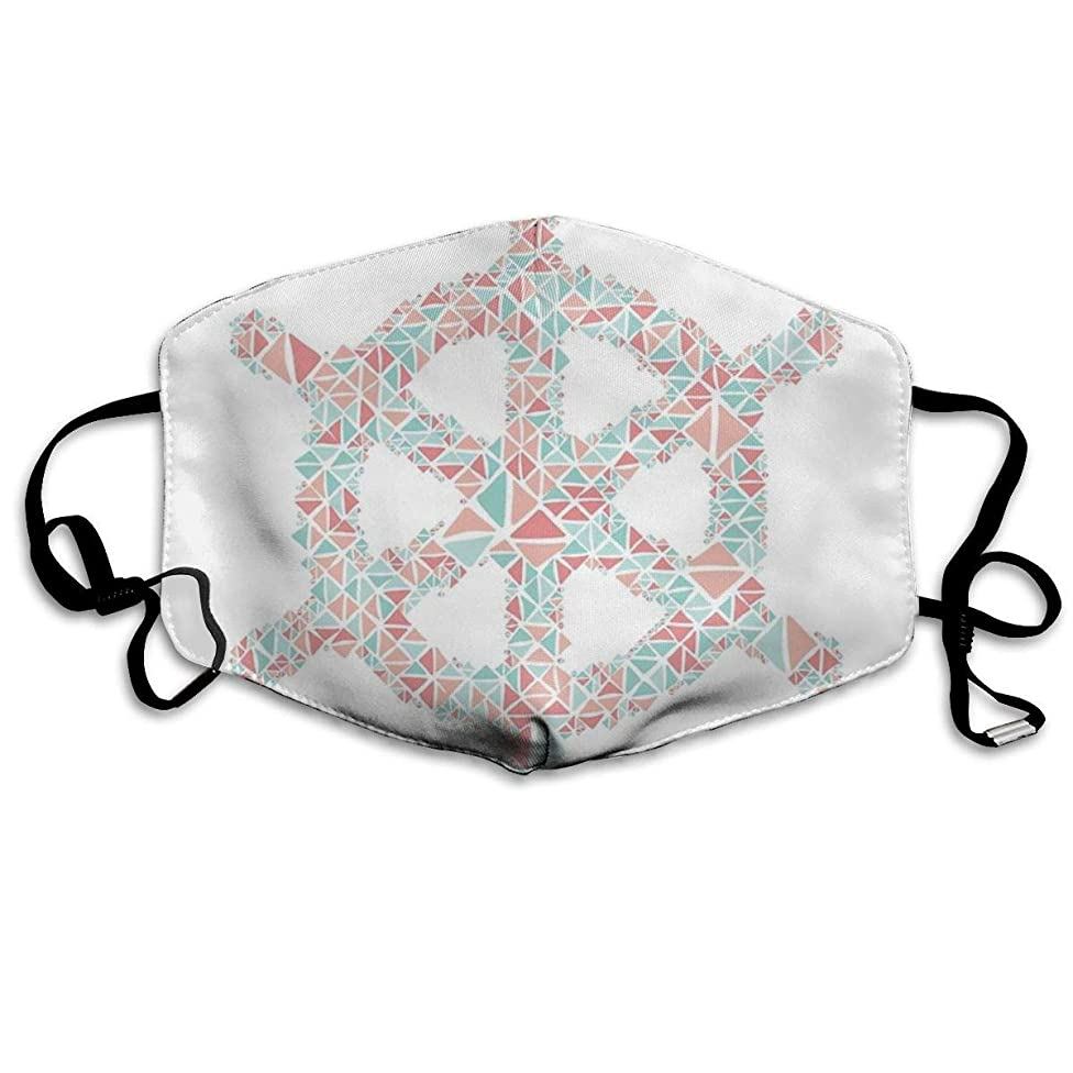 Whages Nautical Boat Wheel Coral Teal Turquoise Geometric Pattern Washable Reusable Safety Breathable Mask, 4.3