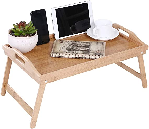 Hand-Woven Rattan Rectangular Serving Tray with Handles for Breakfast