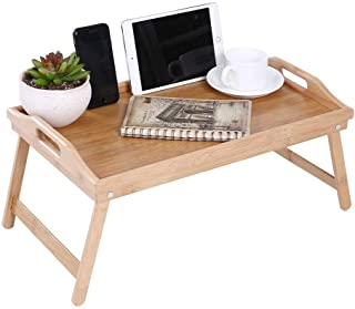 KKTONER Bamboo Bed Tray Table with Folding Legs Foldable Serving Portable Laptop Tray Snack Tray Breakfast Tray Bed Table ...