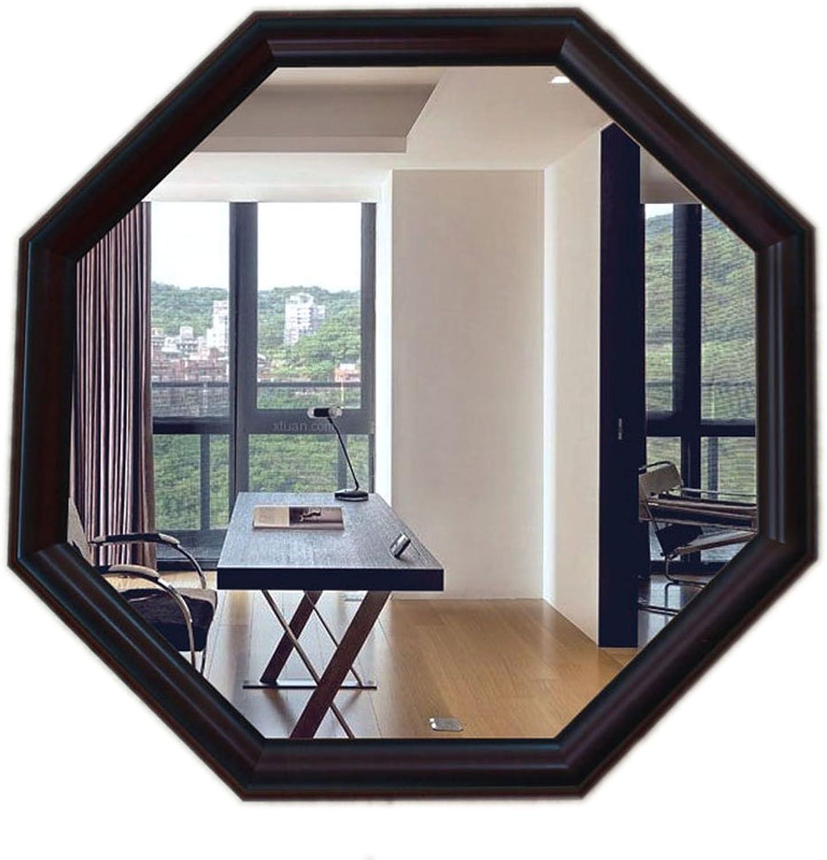 Greawei@ Bathroom Mirror European Octagonal Imitation Wood Edge Decorative Wall Hanging Mirror Porch Mirror Vanity Mirror Shaped Mirror Simple and Elegant