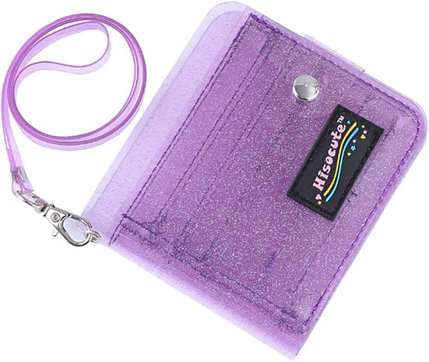 Clear Wallet Glitter Jelly Wallets Transparent Bifold Photocards Holder Lanyard Coin Pouch,Purple