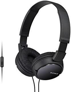 Sony ZX Series Wired On-Ear Headphones with Mic, Black MDR-ZX110AP