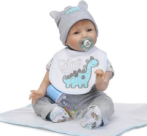 0Miaxudh 46cm wiedergeboren Puppe, handgemachte Vinyl silikon lebensechte Reborn Baby Puppe, Kinder Pretend Play Spielzeug, Geschenk grau