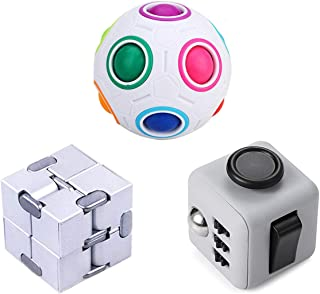 LOVEYIKOAI 3 Packs Fidget Finger Toys - Infinity Cube Fidget Cube Magic Ball for Stress and Anxiety Relief ADHD Office Desk Toys Perfect Toys for Kids or Adults