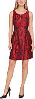 Womens Plus Floral Print Keyhole Cocktail Dress Red 18