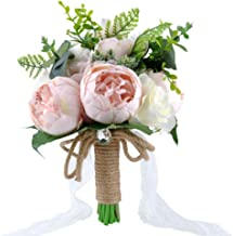 YSUCAU Wedding Bridal Bouquet, 9.8'' Wedding Bride Bouquet, Wedding Holding Bouquet with Artificial Peony and Rose Fiowers, Natural Jute Twine, Crystal for Wedding Church Party and Home Decor