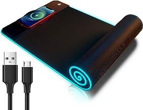 Mouse pad RGB para jogos sem fio, otimizado para sensores de jogos - controle máximo, 10 luzes LED teclado Mat, base de bo...