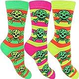 Women's Bright Neon Skull Everyday Contrast Heel Socks (3 Pack) (Green, Pink & Yellow)