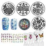 Nail Art Stamping kits, 4pcs Nail Stamping Template Image Plates 3D Mixed Nail Decoration Rhinestone Rivet Studs Pearl DIY Accessories Tools (Bi015A)