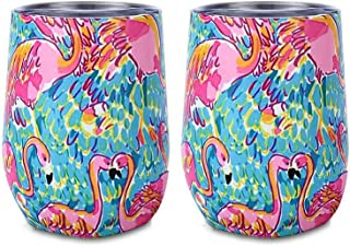 Yaye Stainless Steel Stemless Wine Glasses Tumbler Unbreakable,2 Pack12oz Double-Insulated Wine Tumbler with Lid, Vacuum Travel Tumbler Cup for Champagne,Cocktails,Coffee,Drinks,Gift(Flamingo)
