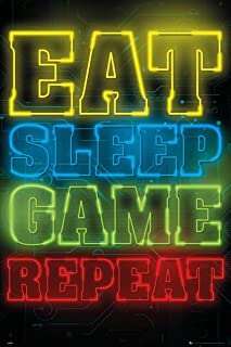 Close Up Póster Gaming - Eat, Sleep, Game, Repeat (61cm x 91,5cm)