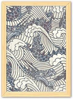 CaoGSH Peinture décorative en bois avec motif de dragon bleu de Chine - A4