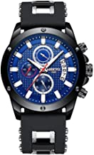 Chronograph Watch Men Sport Quartz Clock Mens Watches Silicone Waterproof Black Blue Male
