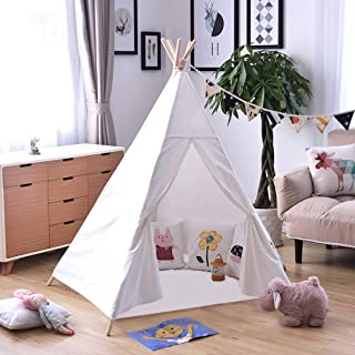 OUTREE Kids Teepee Tent - Kids Play Tent for boys & girls indoor/outdoor with 5 Wooden Poles & Carry Bag, White Canvas