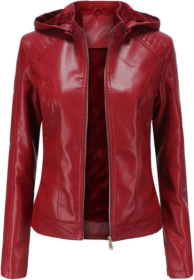 SENDEREAL Women Faux Leather Jacket Wine Red Moto Biker Leather Plush Lining Casual Jacket with Removable Hooded,3XL