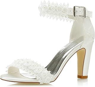 Mrs Right 5471A Scarpe da Sposa da Donna Punta Aperta Block Heel Pizzo Satinato Pompe Raso Fiore Sandali Scarpe da Sposa