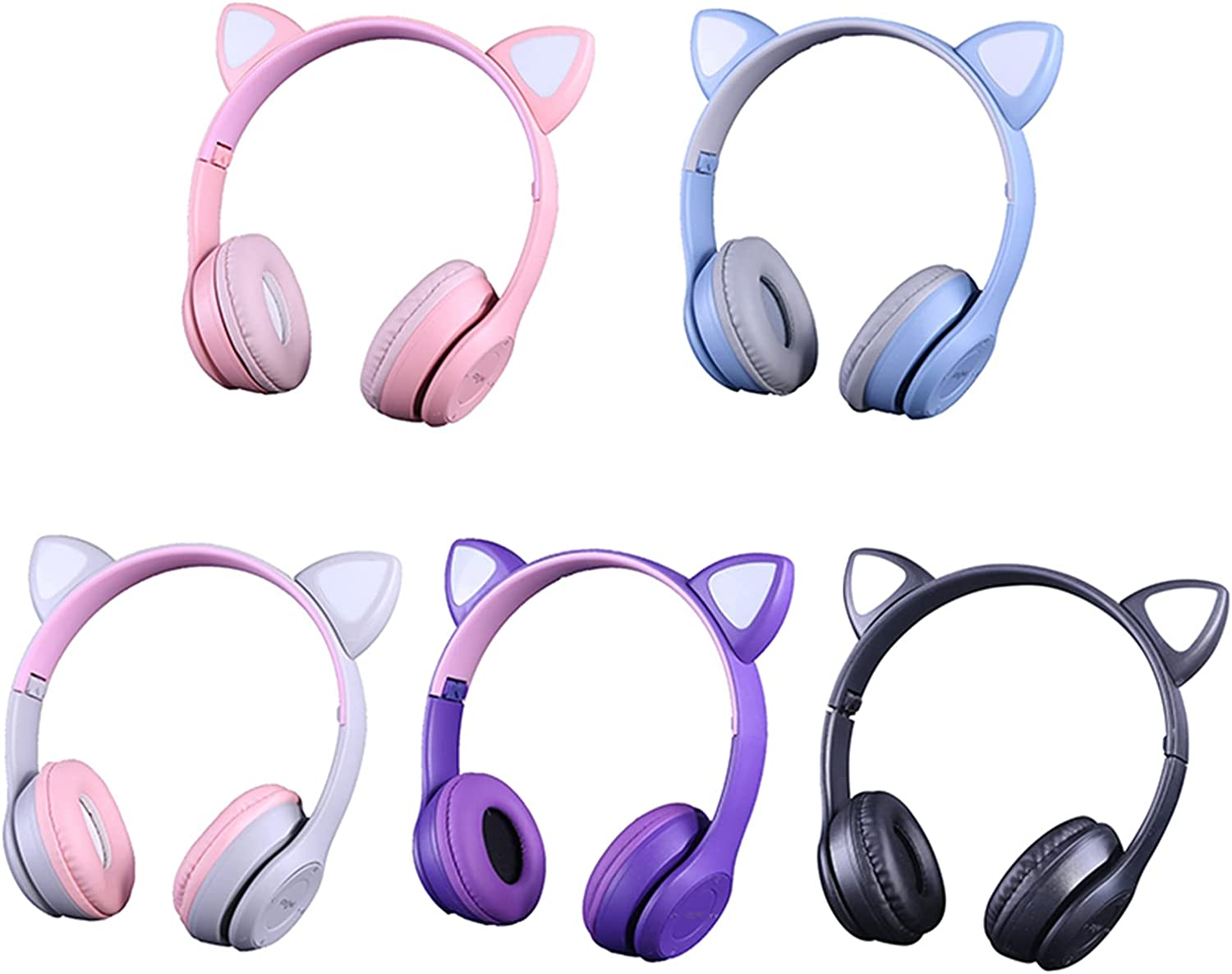 DYHF P47M Wireless Bluetooth Cat Ear Headphones, Over Ear Cat LED Light Glowing Foldable Music Headset with AUX 3.5mm and Microphone, Gifts Fit Adults/Kids for PC, TV Game, Mobile, Laptop