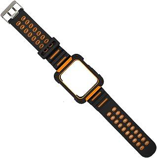 2020 For Apple Watch4 5 44mm 40mmシリコーンブレスレットssのFor Iwatchリストバンドアクセサリー用バンドスーツ付き落下防止保護ケース-black orange-for 40mm apple watch