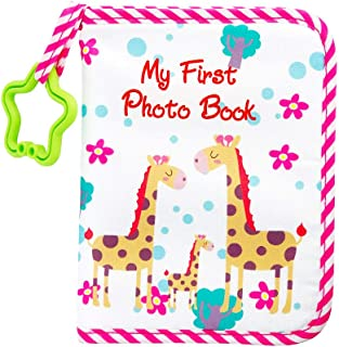 Baby Photo Album Soft Cloth Baby Photo Book with Safe Mirror Holds 17 Photos Cute Giraffe Family Theme Pink