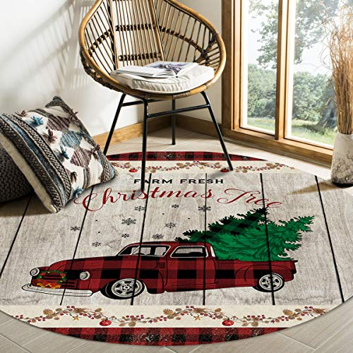 Edwiinsa Round Area Rugs Farm Fresh Christmas Tree Modern Soft Carpet Floor Mat for Kids Study Playroom/Living Room, Truck Pine Cone Wood Board Machine Washable Non Slip Rugs, Diameter 3ft