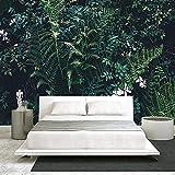 Fondo de pantalla Fotomurales Flores verdes 157.48 x 110.23 inches - 8 StripsPapel pintado tejido no tejido Decoración De Pared Sala Cuarto Oficina Salón
