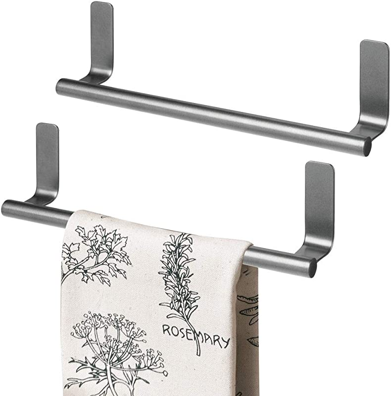 MDesign Decorative Metal Kitchen Self Adhesive Wall Mount Towel Bar Storage And Display Rack For Hand Dish And Tea Towels Stick On Inside Or Outside Of Doors 9 Wide 2 Pack Graphite Gray