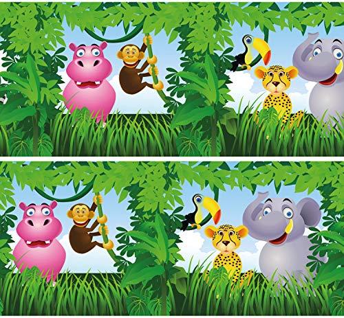 Selbstklebende Bordüre Dschungeltiere, 4-teilig 560x15cm, Tapetenbordüre, Wandbordüre, Borte, Wanddeko,Kinder, Urwald