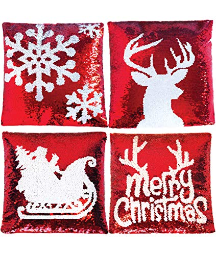 Holiday Decorative Sequin Pillow Covers with Christmas Theme
