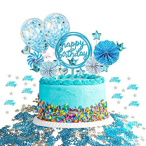 ENYACOS Happy Birthday tortendeko, Cake Topper, tortendeko Geburtstag, Glitter Cake Topper Happy Birthday, geburtstagsdeko mädchen, geburtstagsdeko Jungen, Birthday Party Decorations (Blau1)