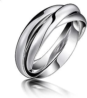 Navifoce Stainless Steel Triple Plain Silver Band Rings Interlocked Rings Three in One