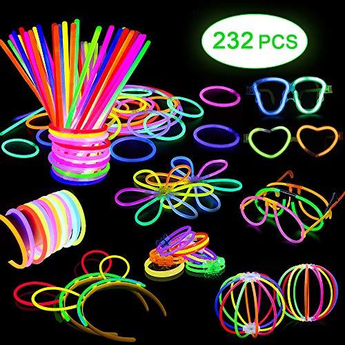 Eyscoco Knicklichter, 100 Stück Knicklichter Leuchtstäbe Armreifen Glowstick Partylichter mit Verbinder,8 Farben Leuchtstäbe Festival Ausrüstung Knicklichter Armbänder