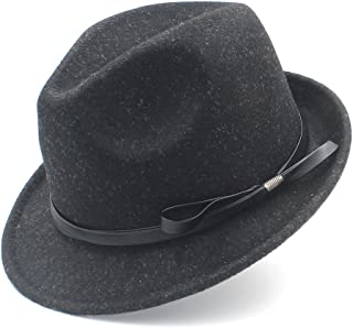 Fashion Sun Hat for Gangster FedoraWomen Men Hat for Elegant Lady Gentleman Cap Felt Homburg Church Jazz Hat with Fashion Leather Suitable for hot Weather Season (Color : Black, Size : 57-58cm)