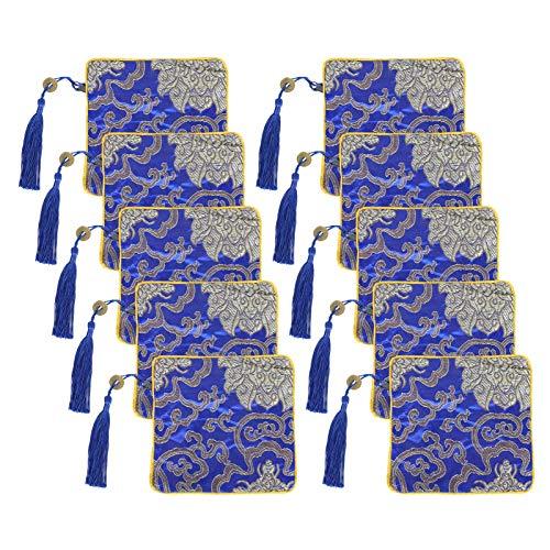 Fydun 10 Uds Bolsa de Almacenamiento de Joyas Retro Bordado Antiguo Organizador de joyería Artesanal para Mujer Pulsera Collar Anillos Relojes