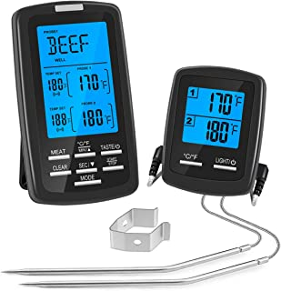 Wireless Meat Thermometer Remote Digital Meat Thermometer Dual Probe for Smoker, Grilling, Oven, BBQ, Cooking