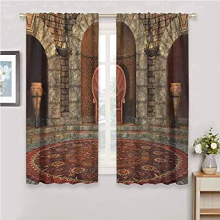 Gothic Room Darkened Curtain Throne of King in Vintage Style Palace Chandelier Medieval Architecture Theme Insulated Room Bedroom Darkened Curtains W54 x L84 Inch Burgundy Grey