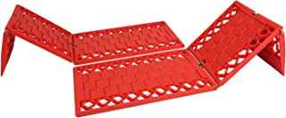 Offroad Boar Foldable Auto Traction Mat Tire Grip Aid, Best Snow Chain Alternative (Red)