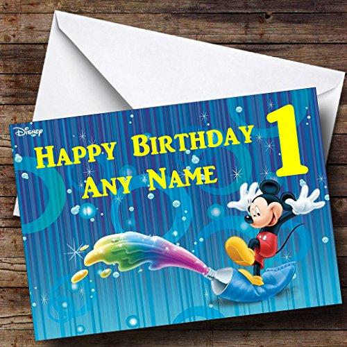 Gepersonaliseerde blauwe Mickey Mouse verjaardagskaart