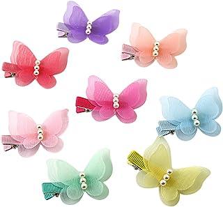 ShungFun Cute Glitter Pearl Butterfly Chiffon Hair Bow Clips Non-slip Hair Clips Hair Barrettes Hair Bows for Little Girls...
