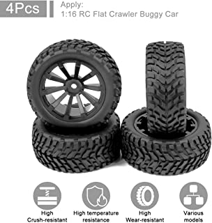 FPVERA RC Tires 10 Spoke Wheel Rim RC Tyres RC Monster Truck Tire for 1:16 1/16 RC Car (Pack of 4)