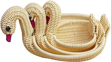 EXCEART 3 sztuki rattanowych okrągłych koszyków na owoce gęś w kształcie łabędzia wiklinowa taca misa do przechowywania ko...