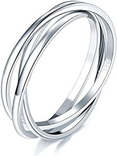 925 Sterling Silver Ring Triple Interlocked Rolling High...